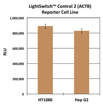 Graph showing the luciferase activity of the LightSwitch Control 2 Reporter Cell Lines (HT1080 and Hep G2)