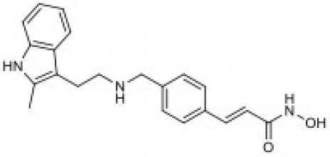 Chemical structure of Panobinostat.